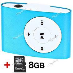 Plastic Olive Clip MP3 Player + (Kingston) 8GB Class 4 TransFlash TF Micro SD KB-304928