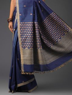 f79e42222 Blue-Ecru-Pink Cotton Silk Assamese Handwoven Saree - Anuradha Pegu Pinned  by Sujayita