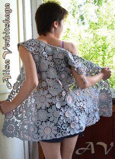 """Жилет """"София"""" - ирландское кружево #Crochet_flower_vest    #Irish_lace_vest"""