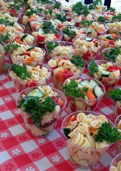 Pasta in a cup! Large Group Catering/ Cooking. Great ideas and pictures! Photo 3 of 30