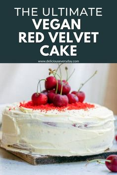 This vegan red velvet cake is rich, chocolatey, and topped with a decadent dairy-free buttercream frosting. You would never guess it's entirely vegan! Vegan Chocolate Cookies, Chocolate And Vanilla Cake, Vegan Cake, Vegan Desserts, Delicious Desserts, Dairy Free Buttercream, Buttercream Frosting, Vegetarian Christmas Recipes, Vegetarian Recipes