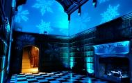 Hengrave Hall Ice theme wedding perfect for Christmas, snow flake gobo projection with blue up lighting Hall Lighting, Wedding Lighting, Professional Dj, Snow Flake, Frozen, Ice, Gallery, Winter, Christmas