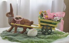 D. Blumchen Marolin paper mache Easter bunny candy container with wagon two