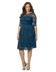 Product review for Kiyonna Women's Plus Size Luna Lace Cocktail Dress.  - Our Luna Lace Dress ups the ante in women's plus size style! With scalloped lace and nude mesh backing to hide bra straps; you'll simply adore this stylish cocktail dress. A slightly full A-line skirt will give you a fabulous hourglass-like shape and is great for any special...
