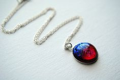 Dragon's Breath Pendant Necklace Mexican Opal Fire by BeeesBeads