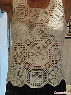 Ladies Top made out of different crochet motifs….very unusual. Thread Crochet, Filet Crochet, Crochet Motif, Irish Crochet, Crochet Lace, Crochet Stitches, Crochet Patterns, Crochet Summer Tops, Crochet Woman