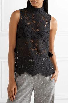 GANNI | Duval grosgrain-trimmed corded lace top | NET-A-PORTER.COM