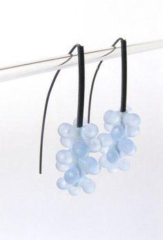 Lampwork glass earrings Coral purpleblue glass by anatglass