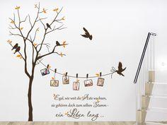 baum mit fotorahmen und sprichwort wandtattoo kinderzimmerschlafzimmer ideenwohnzimmerwandgestaltung - Wandtattoo Wohnzimmer Baum