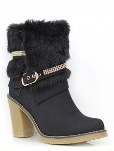 La Moda   Chunky heeled contrast sole boots