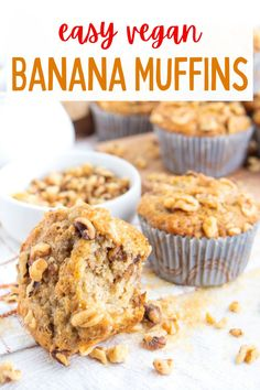 These delicious and fluffy vegan banana muffins have the best moist texture along with chopped walnuts, cinnamon and nutmeg! #veganmuffins #veganmuffinrecipes #veganbananamuffins #veganbanananutmuffins #vegandesserts Healthy Vegan Desserts, Vegan Dessert Recipes, Vegan Banana Muffins, Vegan Blogs, No Bake Cookies, Muffin Recipes, Cinnamon, Deserts, Vegetarian