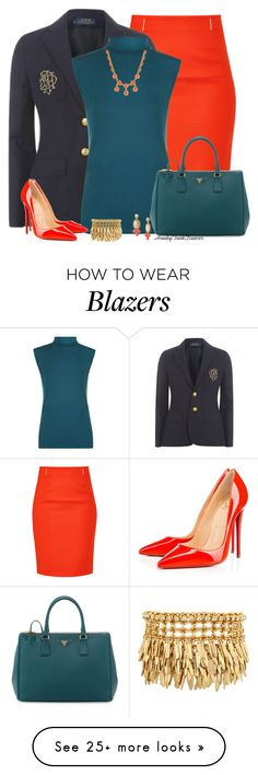 """""""Navy,Teal And Coral"""" by honkytonkdancer on Polyvore featuring HUGO, Polo Ralph Lauren, WearAll, Christian Louboutin, Prada, Lele Sadoughi, Henri Bendel, coral, navy and teal"""