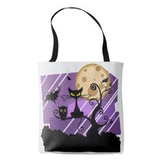Halloween Cat & Owl Shoulder Carry Tote Bag - black gifts unique cool diy customize personalize