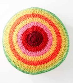 FREE Color Wheel Pillow crochet pattern in Caron Simply Soft and Simply Soft Brites - Download the pattern at LoveCrochet.com.