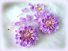 """Мк """"нескучного цветка"""" канзаши  из 4 разных видов лепестков ."""