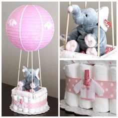 Lovely Hot air balloon diaper cake