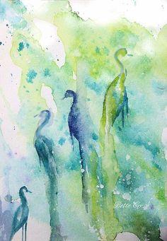 """Mystical Vigilance"" - watercolor painting by Bette Orr..... www.betteorr.com"