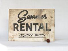 Vintage Summer Rental Sign  Antique Wooden by ArmoryArtandAntiques
