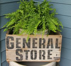 General Store crate planter by Organized Clutter, featured on Funky Junk Interiors Old Crates, Wine Crates, Wooden Crates, Tin Tiles, Funky Junk Interiors, Grunge Room, Garden Junk, Target Home Decor, Diy Home Decor Projects