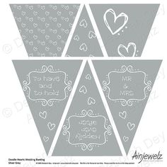 Doodle Hearts Wedding Bunting Garland Flags INSTANT DOWNLOAD silver grey,party reception paper decoration