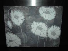 """FLOWERS IN GREYTONE"" - Acryl schilderij - 40 x 30 cm - Eigen werk-Own work !! Abstract painting - Made by MIK (miek de keyser - Ranst - Belgium)"