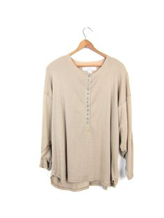 basic 80s beige shirt long sleeve button by dirtybirdiesvintage
