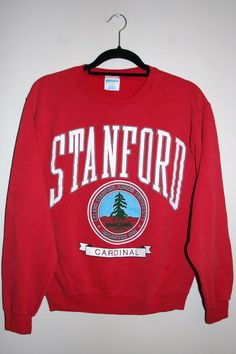 BeWorn — Vintage Red University of Stanford College Jumper College Hoodies, College Apparel, College Outfits, Sweater Shirt, Ladies Dress Design, Vintage Outfits, Graphic Sweatshirt, Harvard Sweatshirt, Tee Shirts