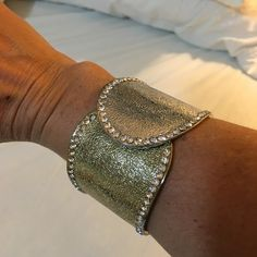 Brand new cuff Silver and gold color with crystal rhinestones  bracelet. Brand new. Excellent conditions. Hinge closure. Jewelry Bracelets