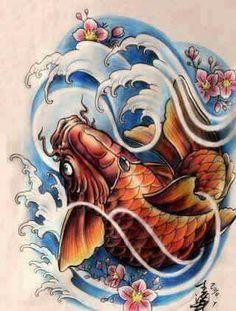 Japan Tattoo Design, Tattoo Design Drawings, Tattoo Sketches, Tattoo Designs, Japanese Koi Fish Tattoo, Koi Fish Drawing, Fish Drawings, Tattoo Oriental, Koi Dragon
