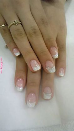 Special manicure day 39 Manucure spéciale jour j 39 - Nail Designs French Nails, French Pedicure, French Manicure Nails, Manicure And Pedicure, My Nails, Bridal Nails French, French Wedding, Bride Nails, Prom Nails