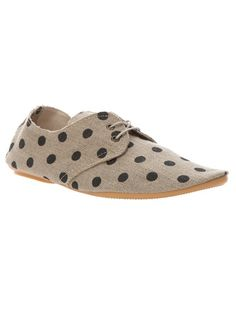 Beige cotton shoes from Anniel featuring a front lace-up fastening and a black polka dot print.