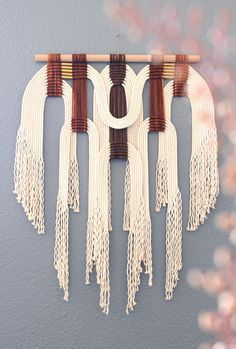 Macrame Wall Hanging brw  wht by HIMO ART One of a kind by HIMOART