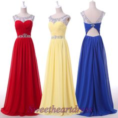 Beaded a-line chiffon prom dress,long evening dress for teens, round neck ball gown for 2016, elegant bridesmaid dress -> sweetheartdress.s... #coniefox #2016prom