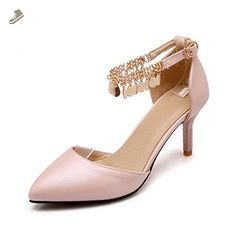 21974434cab VogueZone009 Women s Buckle High Heels Pu Solid Pointed Closed Toe Pumps  Shoes