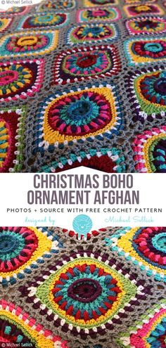 Crochet Afghan Patterns Christmas Boho Ornament Afghan Free Crochet Pattern - Boho style is not only a summer trend, it has many faces and versions. Bold colours and structural motifs are what makes it really eye-pleasing! Crochet Afghans, Boho Crochet Patterns, Crochet Blankets, Crochet Rugs, Crochet Ideas, Crochet Home, Crochet Crafts, Crochet Projects, Free Crochet