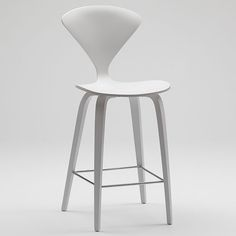 Norman Cherner Counter Bar Stool Wooden Base in White Lacquer | Stardust Modern Design