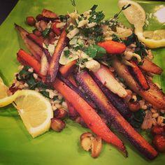 Roasted Rainbow Carrots, Chickpeas, Lemon-Thyme Barley with Red Chard & Artichoke Gremolata