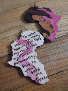 Red Locks Art & Poetry Dangles 4 inches long. Custom wood burned, hand painted and written by LaVita Ru. To value me... My kinky hair,  my full lips, my thick hips,  my vibrant personality, this is what sets me free.
