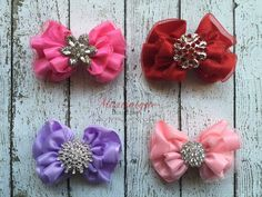 A personal favorite from my Etsy shop https://www.etsy.com/listing/461233474/chiffon-bows-with-rhinestone-centers