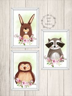 Woodland Animal Nursery Wall Art, Animal Nursery Wall Art, Children's Wall Art, Boho, Wall Art, Digital, Instant Download, Printable, SET 1 by iCandyPartyPrintable on Etsy
