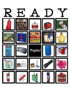 READY bingo - it's bingo for emergency preparedness! So loving this!