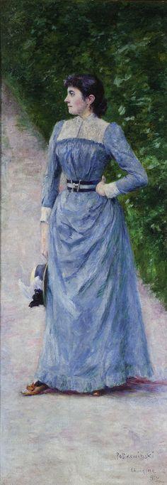 Painted by Polish artist Andrzey Ansgary Portrait of Wincentyna Karska 1880s Fashion, Victorian Art, Blue Art, Illustration Art, Lady, Fashion Portraits, Beautiful, Poland, Wikimedia Commons