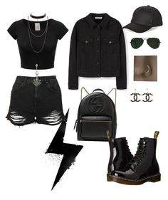 """""""All black"""" by xcelestex on Polyvore featuring MANGO, Topshop, Gucci, Ray-Ban, BCBGeneration, Dr. Martens, Chanel, black, badgirl and piercings"""