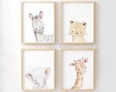 SET of four Watercolor Safari Nursery Art. Safari Animals | Etsy