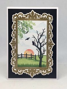Card created using Masterpiece Duo Stamp Set - Ornate Frame &a Landscape Artist, made by Julie Hickey www.craftworkcards.com