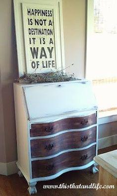 Chalk Painted Secretary Desk | Secretary Desk redo using Chalk Paint by Annie Sloan ~ Old White
