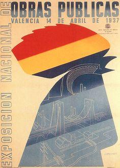 By José Briones (1905-1975), 1937, Exposicion Nacional de Obras Publicas, Republican poster Spanish Civil War. (Spain)