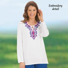 Abstract Embroidered Tie Neckline Tunic Top