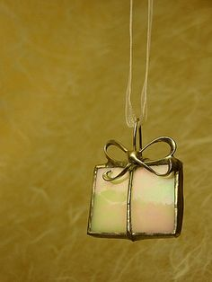 Ornament White Stained Glass Iridescent Present via Etsy