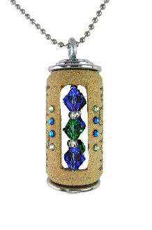 Blue and Green Wine Cork Necklace - Collar verde y azul de corcho de vino
